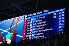 Kvinnors 400 M sista funktionskort på Rio2016 Royaltyfri Foto