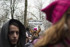 Kvinnors marsch i Zurich på 8th mars 2017 Arkivfoto