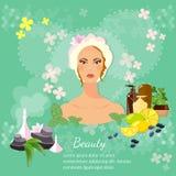 Kvinnors produkter för skönhetsmedel för omsorg för skönhethud Arkivbild