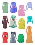 Kvinnors regnrockar och vindtygsjackor Royaltyfria Bilder