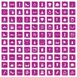 100 kvinnors rosa färger för grunge för tillbehörsymboler fastställda Royaltyfri Bild
