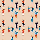 Kvinnors sömlös modell för dag av den lyckliga kvinnadansen stock illustrationer