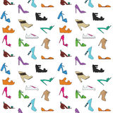 Kvinnors skomodell stock illustrationer