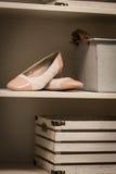 Kvinnors skor i en garderob Arkivbild