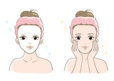 Kvinnors ställde estetisk hudomsorg in leendetyp vektor illustrationer