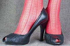 Kvinnors svarta läderskor Fotografering för Bildbyråer