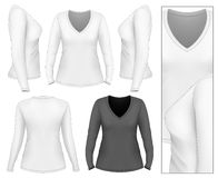 Kvinnors t-skjorta för v-hals lång muff Arkivbilder