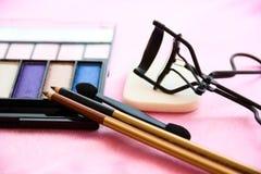 Kvinnors tillbehör - kosmetisk bakgrund Fotografering för Bildbyråer