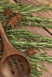 Kvistar av rosmarin med en träsked Fotografering för Bildbyråer