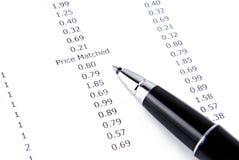 Kvitto- och pennmakro Fotografering för Bildbyråer