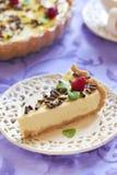 Kwaśnej śmietanki cheesecake z czekoladą, malinkami i mennicą, zdjęcia royalty free