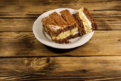 Kwaśnej śmietanki tort na talerzu na drewnianym stole Zdjęcie Royalty Free