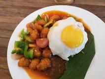 Kwaśni słodcy kurczaka mięsa ryż obrazy stock