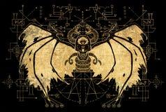 Kwaad gevleugeld demon met geometrische lijnen op zwarte achtergrond stock illustratie