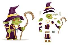 Kwaad van de tovenaars wiseman minion van de kobold mage tovenaar van het de kerkermonster van de de fantasie middeleeuws actie R royalty-vrije illustratie