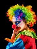 Kwade clown op zwarte achtergrond Portret van gekke vrouw royalty-vrije stock afbeeldingen