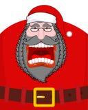 Kwade donkere Santa Claus-schreeuwen Zwarte baard en snor en Riem Royalty-vrije Stock Fotografie