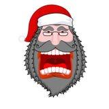 Kwade donkere Santa Claus-schreeuwen Zwarte baard en snor Negativ Royalty-vrije Stock Afbeeldingen