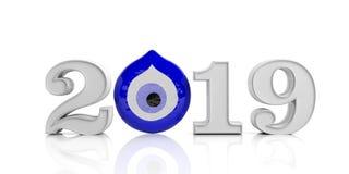 Kwade oogamulet, bescherming, gelukkig Nieuwjaar, 2019 op witte achtergrond 3D Illustratie stock illustratie