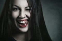 Kwade uitdrukking op vampiergezicht Stock Fotografie