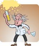 Kwade wetenschapper die chemisch experiment maken royalty-vrije illustratie