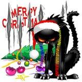 Kwade Zwarte Cat Broken Christmas Tree vector illustratie
