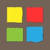Kwadrat barwił prześcieradła papier z poszarpanymi krawędziami Dołączający z adhezyjną taśmą ilustracja wektor