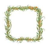 Kwadrat kształtująca rama liście i gałąź ilustracja wektor