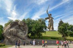 Kwadrat stroskanie Pamiątkowy powikłany Mamayev Kurgan w Volgograd obrazy stock