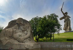Kwadrat stroskanie Pamiątkowy powikłany Mamayev Kurgan w Volgograd zdjęcia stock
