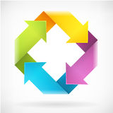 Kwadrat wiruje strzałkowatego kolorowego loga szablon Fotografia Stock