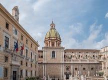 Kwadrat wstyd, sławny miejsce w centrum historyczny miasto Palermo Obrazy Stock