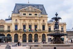 Kwadrat z fontanną w Cherbourg Obrazy Stock