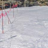 Kwadrat Zamykająca barykada w Parkowym mieście Utah na pogodnym zima dniu i znak fotografia stock