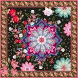 Kwadratowa chusta z Paisley granicą, luksusu ogródu kwiatami, medalionem i mandalas na czarnym tle, Niezwykły modny akcesorium royalty ilustracja