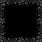 Kwadratowa rama z bielem gra główna rolę na czarnym tle, błyska złotych symbole - gwiazdowa błyskotliwość, stelarny raca ilustracja wektor