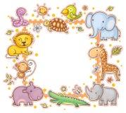 Kwadratowa rama z dzikimi zwierzętami Fotografia Stock