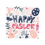 Kwadratowa rama z Easter jajkami, królik, kwitnie royalty ilustracja
