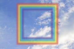 Kwadratowa tęcza na niebie ilustracji