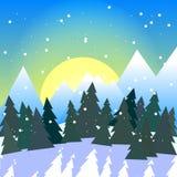 Kwadratowa wektorowa ilustracja śnieżna lasowa dolina z górami ilustracji