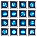 Kwadratowe ikony Ustawiać - nawigacja guziki Fotografia Royalty Free