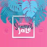 Kwadratowego lata Tropikalny palmowy monstera opuszcza w trandy papieru cięcia stylu Biel ramowy 3d pisze list lato sprzedaż chuj ilustracji