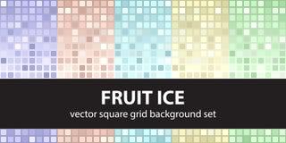 Kwadratowego wzoru owoc ustalony lód Wektorowi bezszwowi dachówkowi tła ilustracji