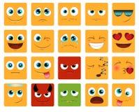 Kwadratowi Emoticons lub smiley ikony ustawiać Obrazy Stock