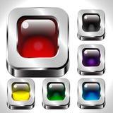 Kwadratowi metali guziki ustawiający Zdjęcia Royalty Free