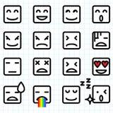 Kwadratowi twarzy Emoticons Zdjęcia Royalty Free