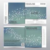 Kwadratowy broszurka szablon z cząsteczkową strukturą geometryczny abstrakcjonistyczny tło Medycyna, nauka, technologia wektor Obrazy Royalty Free