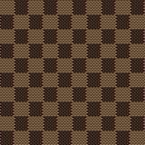 Kwadratowy brown beżowy bezszwowy tkaniny tekstury wzór Zdjęcia Stock