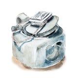 Kwadratowy Chiński teapot, herbaciany garnek z durszlakiem, nakreślenie akwareli ilustracja Obrazy Stock