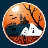 Kwadratowy Halloween sztandar z literowaniem ilustracja wektor
